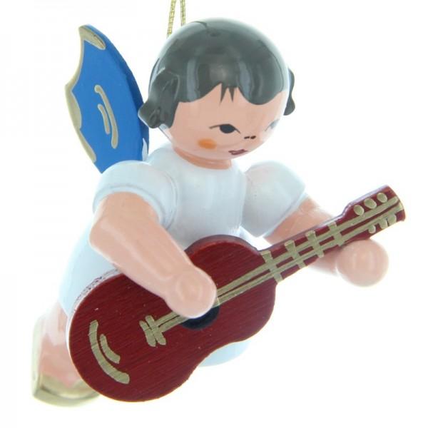 Uhlig Schwebeengel mit Gitarre, blaue Flügel, handbemalt