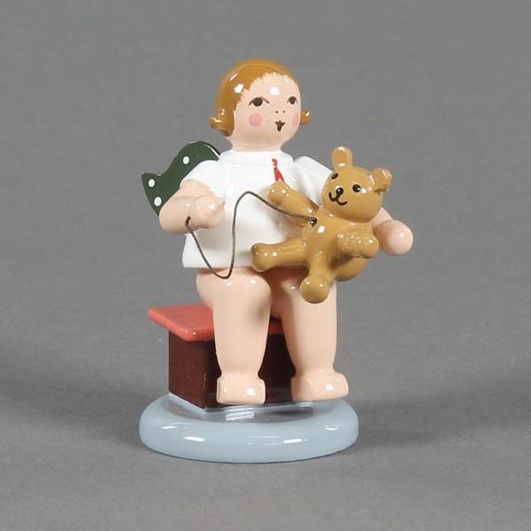 Dregeno Erzgebirge - Weihnachtsengel sitzend, mit Teddy ohne Krone