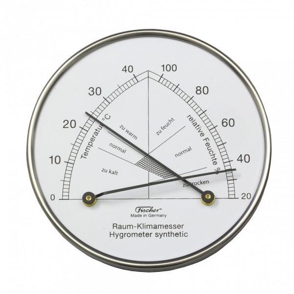 Fischer Raum-Klimamesser synthetic mit Thermometer im Edelstahlgehäuse
