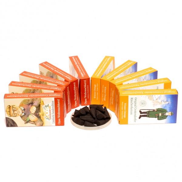 Crottendorfer Räucherkerzen - 10x24 Sparpack – Winter-Orange + Opas Weihrauchkerzl – Limitierte Sonderedition