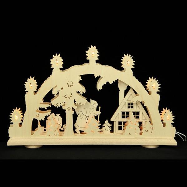 HELA Holzkunst - 3D Schwibbogen Erzgebirge 10flammig - Waldhaus mit Weihnachtsmann