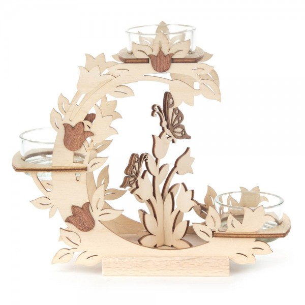Dregeno Erzgebirge - Teelichthalter Blütenkranz mit Tulpen und Schmetterlingen