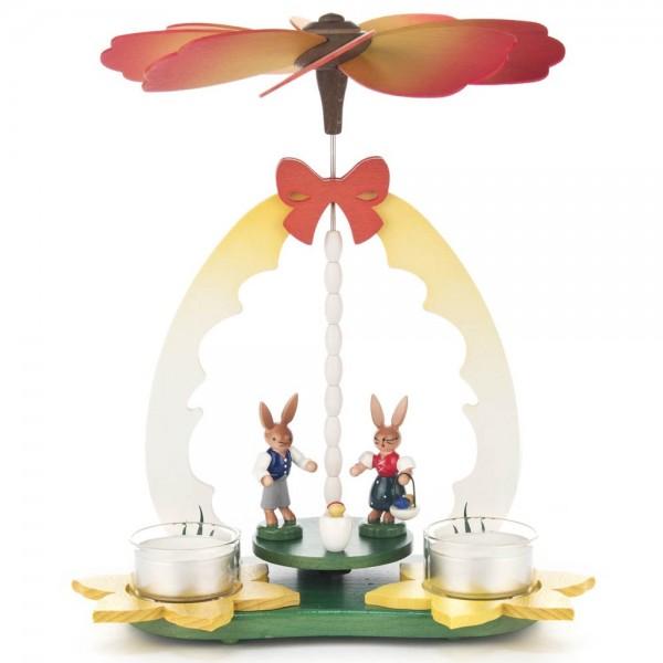 Dregeno Erzgebirge - Osterpyramide Hasenkinderpaar, für Teelichter