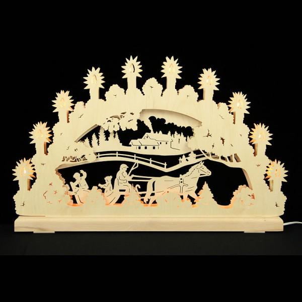 HELA Holzkunst - 3D Schwibbogen Erzgebirge 16flammig indirekt beleuchtet - Schlittenfahrt