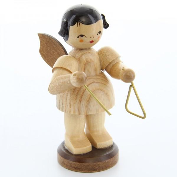 Uhlig Engel groß stehend mit Triangel, natur, handbemalt