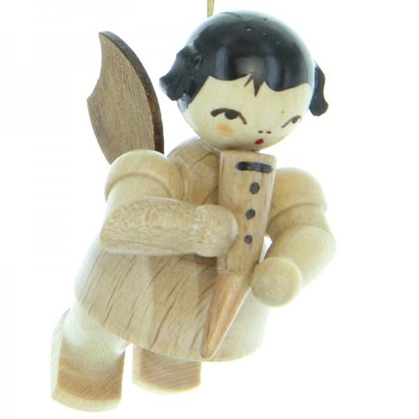 Uhlig Engel schwebend mit Gemshorn, natur, handbemalt