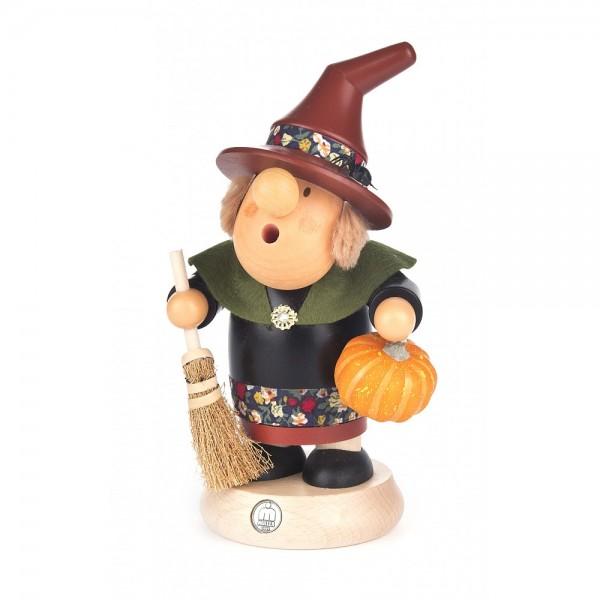 Dregeno Erzgebirge - Räuchermann-Serie Müllerchen - Halloween-Hexe - 16cm