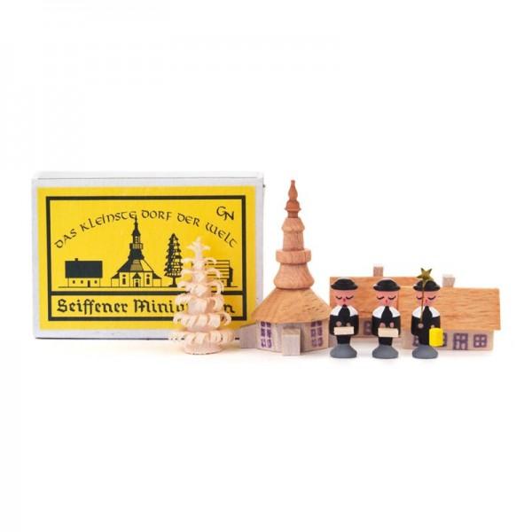 Dregeno Erzgebirge - Miniatur-Zündholzschachtel mit Seiffener Kirche und Kurrende