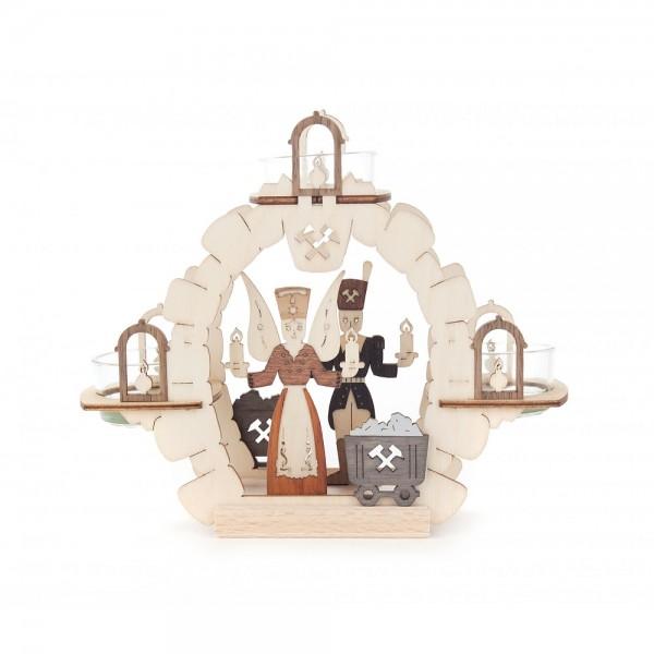 Dregeno Erzgebirge - Teelichtkranz 15cm - Motiv Engel und Bergmann