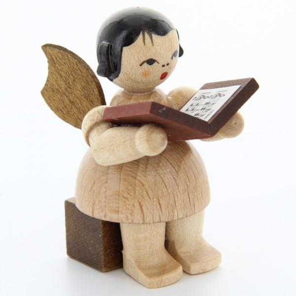 Uhlig Engel sitzend mit Buch, natur, handbemalt