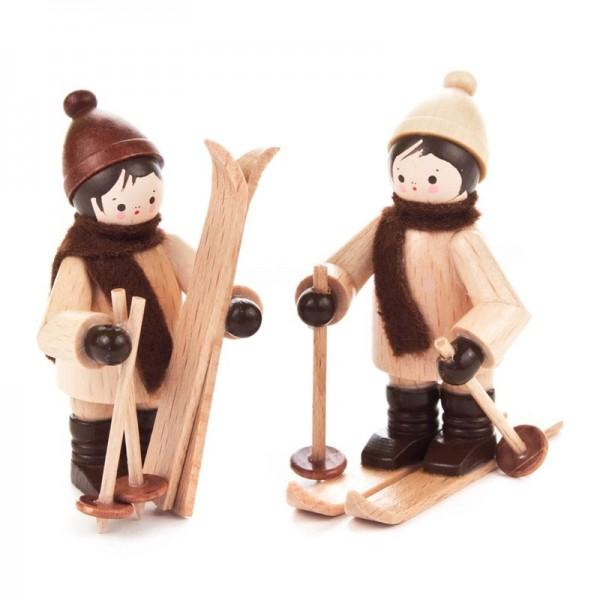 Dregeno Erzgebirge - Miniatur-Kinder mit Ski, natur