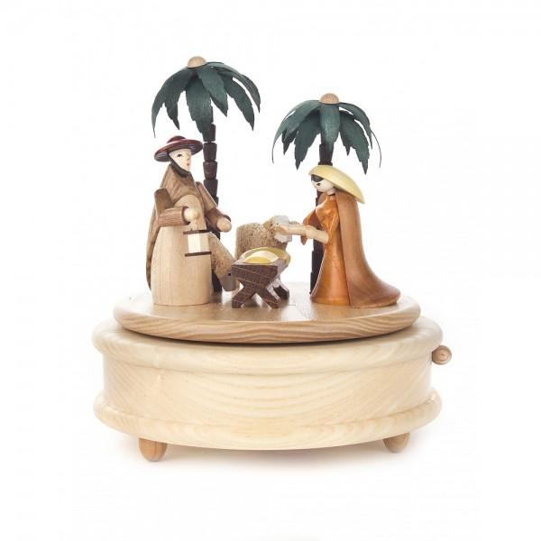 Dregeno Erzgebirge - Spieldose Christi Geburt mit farbigen Figuren, 18-stimmiges Spielwerk