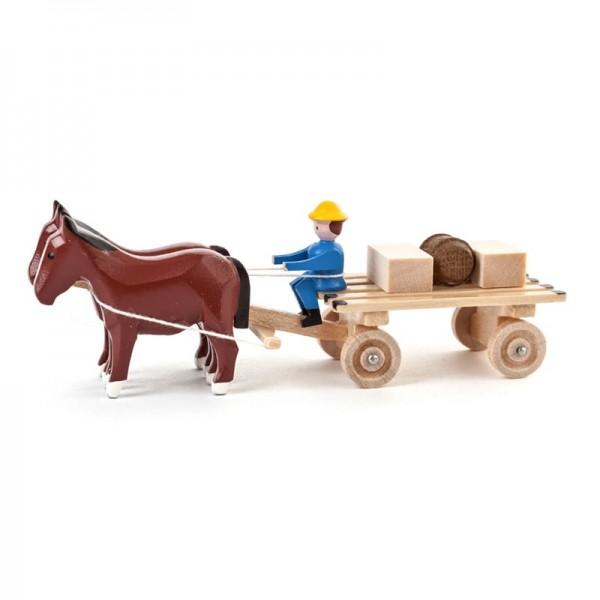 Dregeno Erzgebirge - Miniatur-Pferde mit Lattenwagen und Kisten