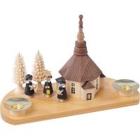 Richard Glässer Kerzenhalter Seiffener Kirche mit Kurrende