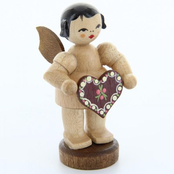 Uhlig Engel stehend mit Lebkuchenherz, natur, handbemalt