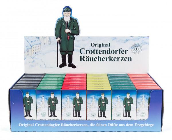 Dregeno Erzgebirge - Verkaufsdisplay Crottendorfer Räucherkerzen, 60 Schachteln à 24 Stück