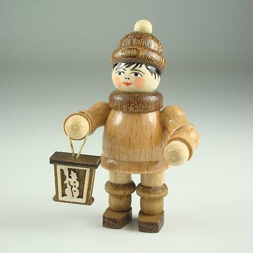 Lenk & Sohn Gedrechselte Holzfigur Erzgebirge Laternenkinder Junge mit brauner Mütze