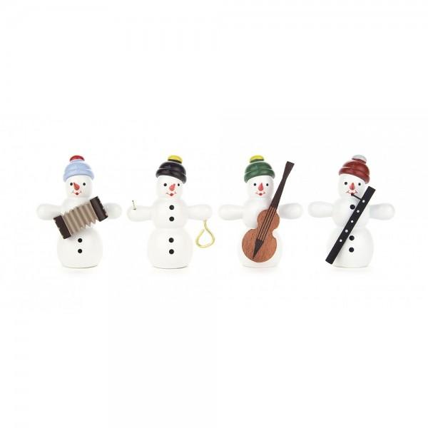 Dregeno Erzgebirge - Miniaturen Schneemannquartett mit Instrumenten, Nr.2 - 6cm