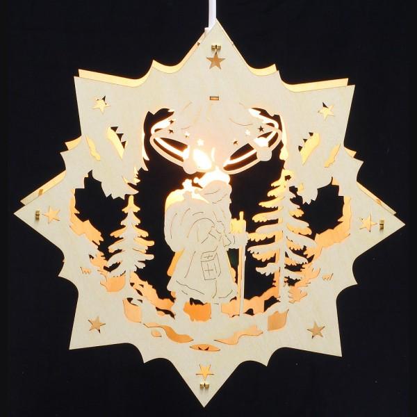 Fensterbild Erzgebirge beleuchtet - Motiv Weihnachtsmann - 27cm