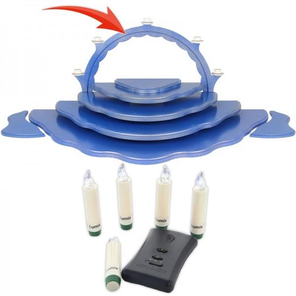 Uhlig Engel, Schwibbogen mit LED-Beleuchtung für Wolkenstecksystem blau/gold