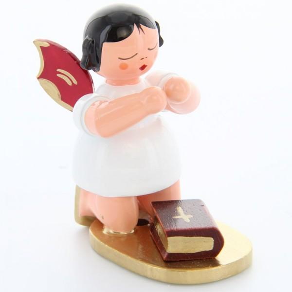 Uhlig Engel kniend mit Bibel, rote Flügel, handbemalt