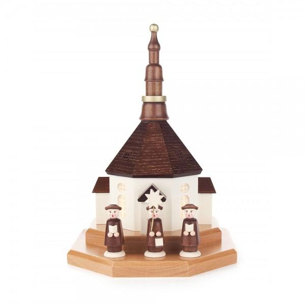 Dregeno Erzgebirge - Seiffener Kirche auf Sockel, elektrisch beleuchtet - 24cm