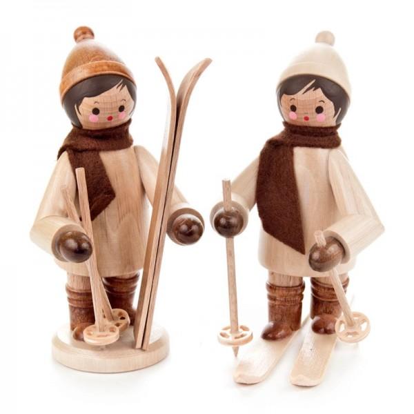 Dregeno Erzgebirge - Miniatur-Kinder mit Ski, groß, natur