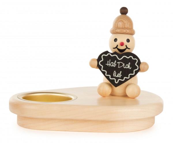 Dregeno Erzgebirge - Teelichthalter Schneeman Junior mit Lebkuchenherz
