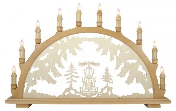 Lenk & Sohn Schwibbogen Erzgebirge 1-fach, 10-flammig Motiv Pyramide