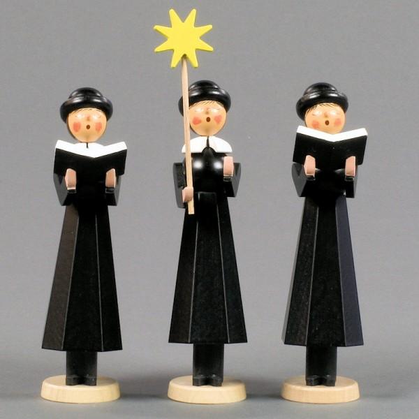 Dregeno Erzgebirge - Kurrendefiguren 3er-Gruppe hoch, schwarz - 14cm