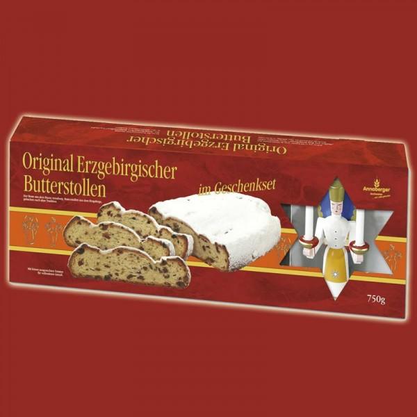 Original Erzgebirgischer Butterstollen im Geschenkset mit Holzkunst