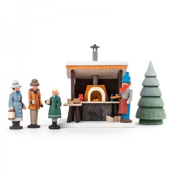 Dregeno Erzgebirge - Miniatur-Grillstand mit 3 Figuren und 1 Bäumchen