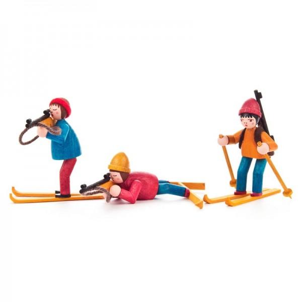 Dregeno Erzgebirge - Miniatur-Biathleten, farbig lasiert, 3 Figuren