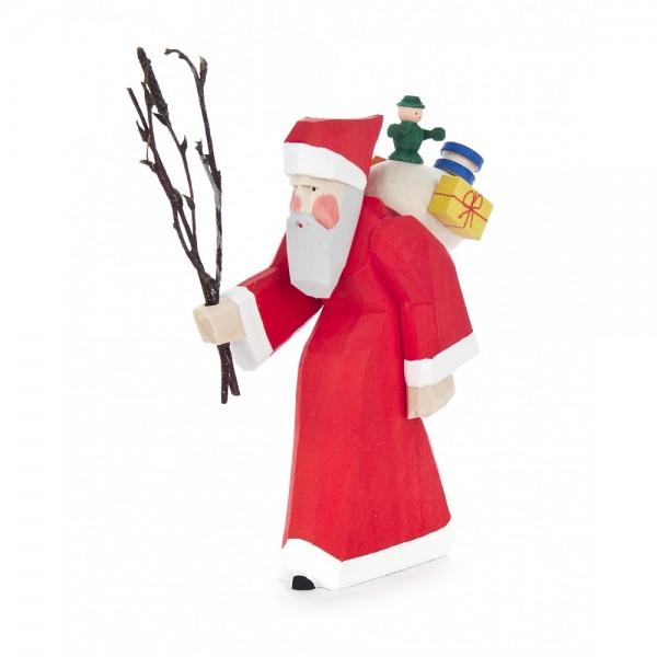 Dregeno Erzgebirge - Schnitzerei - Weihnachtsmann mit Rute - 10,5cm
