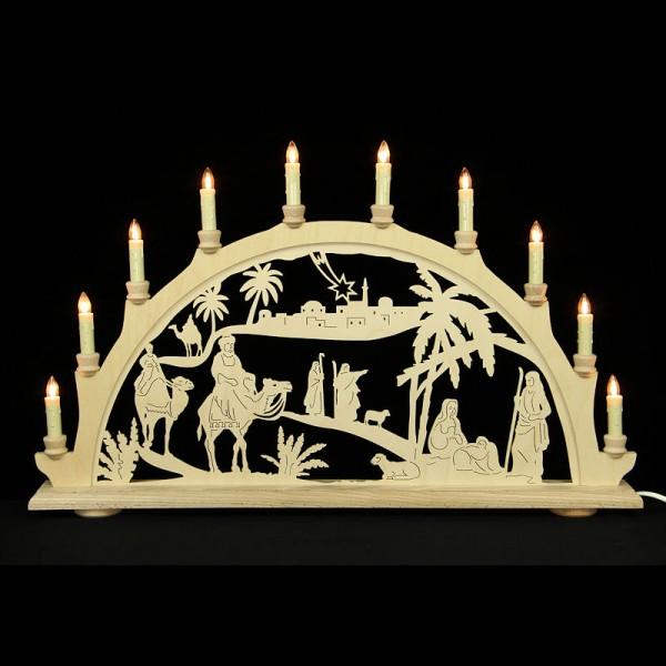 HELA Holzkunst - Schwibbogen Erzgebirge 10flammig - Christi Geburt