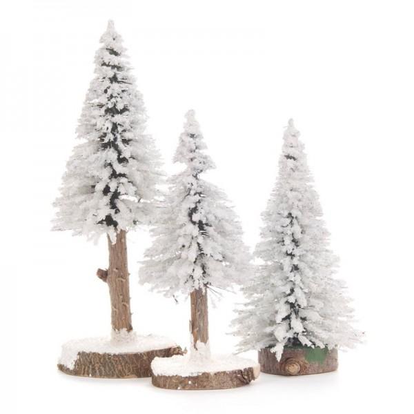 Dregeno Erzgebirge - Miniatur-Fichten, weiß, 3-teilig