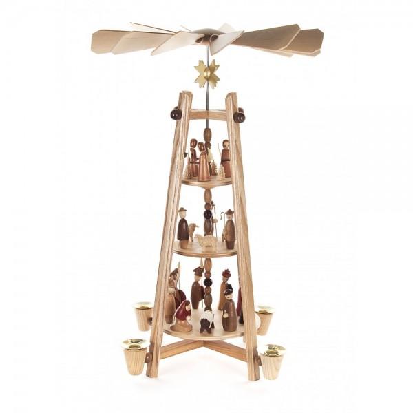 Dregeno Erzgebirge - Pyramide mit Christi Geburt, 3-stöckig - 44cm