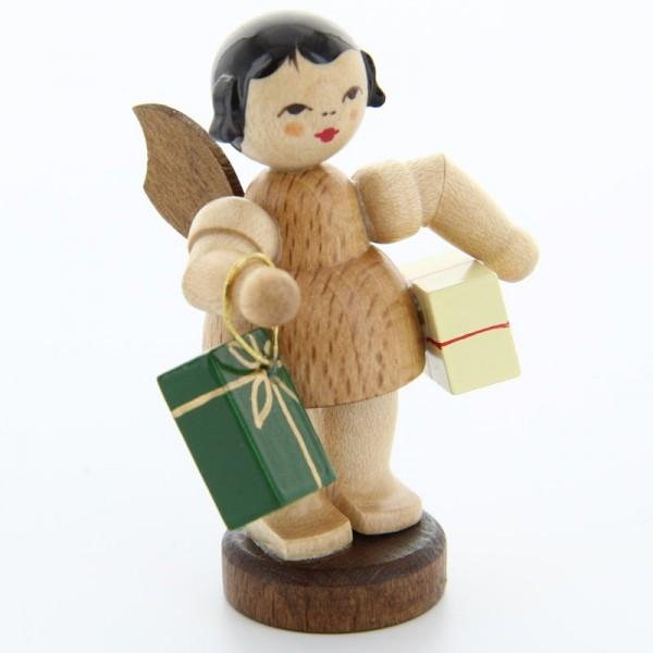 Uhlig Engel stehend mit 2 Geschenken, natur, handbemalt