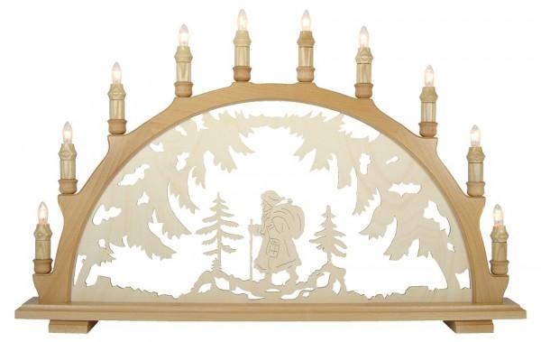 Lenk & Sohn Schwibbogen Erzgebirge 1-fach, 10-flammig Motiv Weihnachtsmann