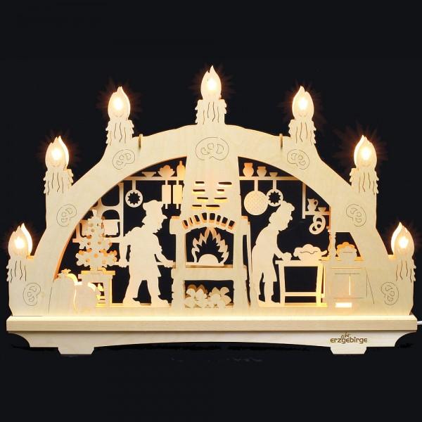 Lichterbogen aus Buchenholz, doppelt - Echt Erzgebirge - Motiv Weihnachtsbäckerei