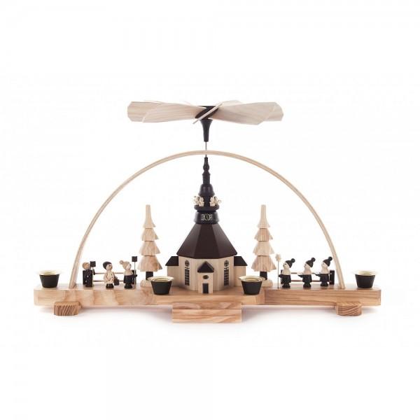 Dregeno Erzgebirge - Pyramidenschwibbogen mit Seiffener Kirche - 38x22cm