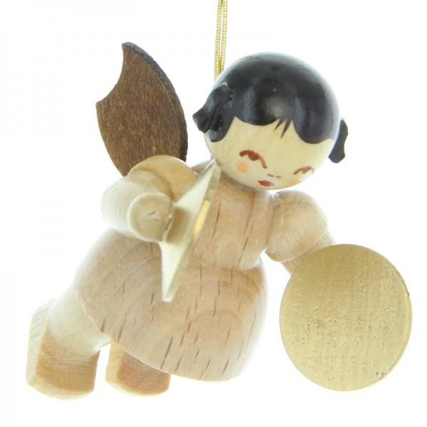 Uhlig Engel schwebend mit Becken, natur, handbemalt