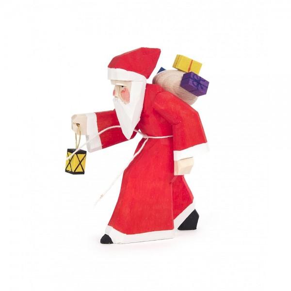 Dregeno Erzgebirge - Schnitzerei - Weihnachtsmann mit Laterne - 8cm