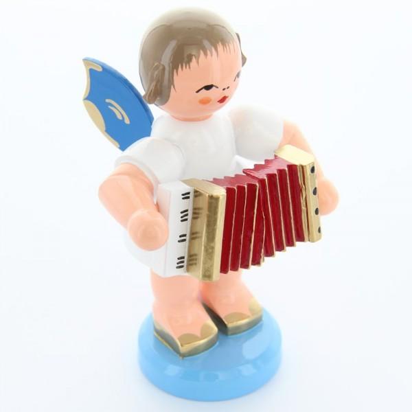 Uhlig Engel stehend groß mit Akkordeon, blaue Flügel, handbemalt