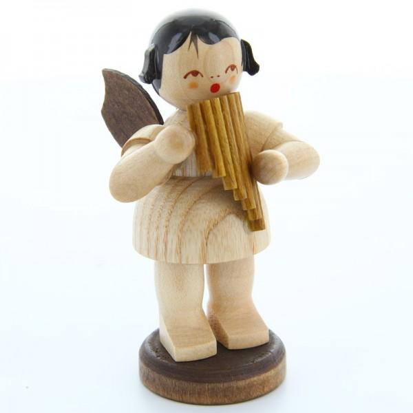 Uhlig Engel groß stehend mit Panflöte, natur, handbemalt