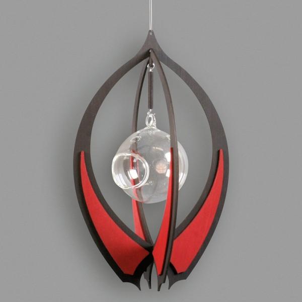 Dregeno Erzgebirge - Ornament mit Glaskugel zum Hängen, anthrazit/rubinrot - 18 x 29cm