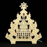 HELA Holzkunst - 2D Lichterspitze Erzgebirge - Frauenkirche mit Kurrendefiguren
