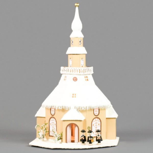 Dregeno Erzgebirge - Lichterhaus Seiffener Kirche aus Pappe mit Kurrende, beleuchtet - 46cm