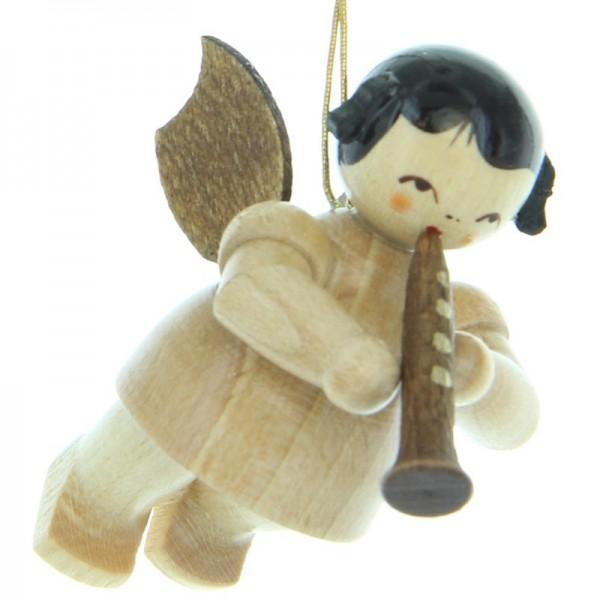 Uhlig Engel schwebend mit Klarinette, natur, handbemalt