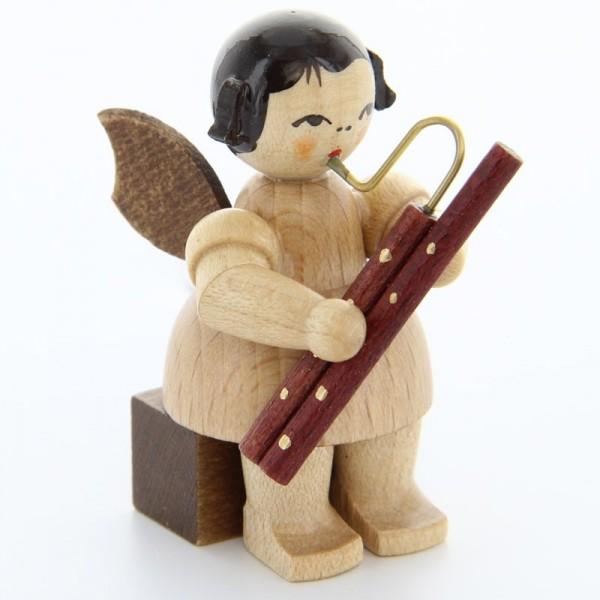 Uhlig Engel sitzend mit Fagott, natur, handbemalt